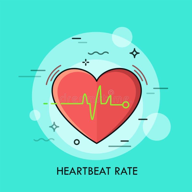 Czerwony serce i bicie serca oszacowywamy rytm lub elektrokardiogram ilustracji