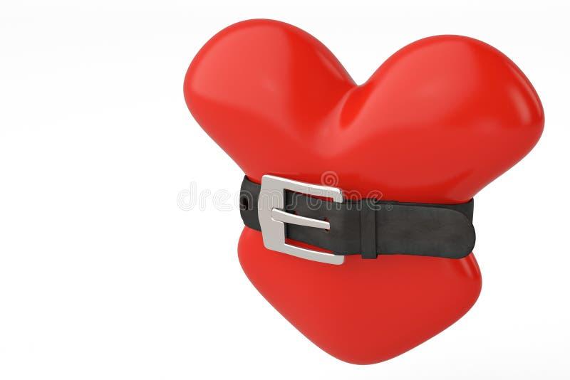 Czerwony serce i pasek ilustracja 3 d ilustracji