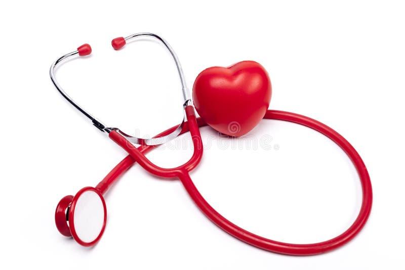 Czerwony serce i stetoskop obrazy stock