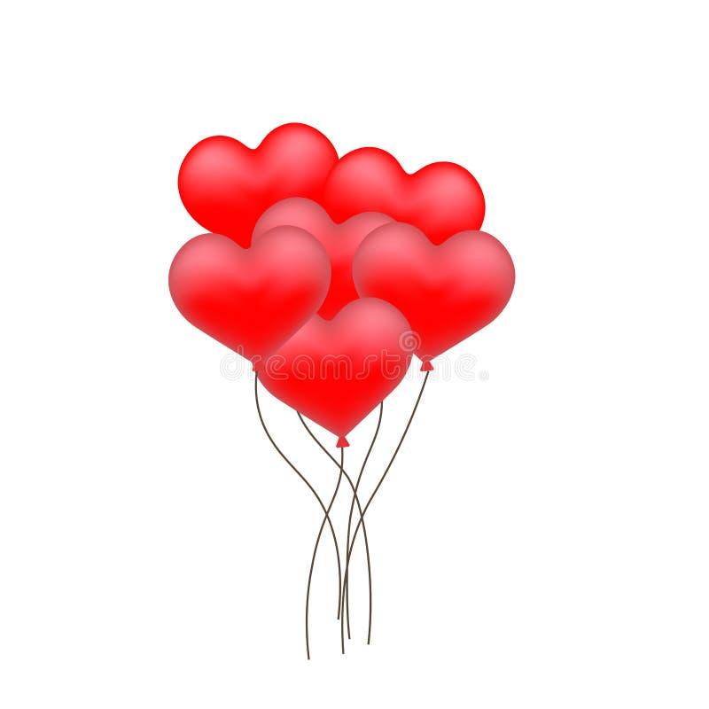 Czerwony serce kształtujący Szybko się zwiększać z złotym faborkiem dla Szczęśliwego walentynki ` s dnia świętowania ilustracja wektor