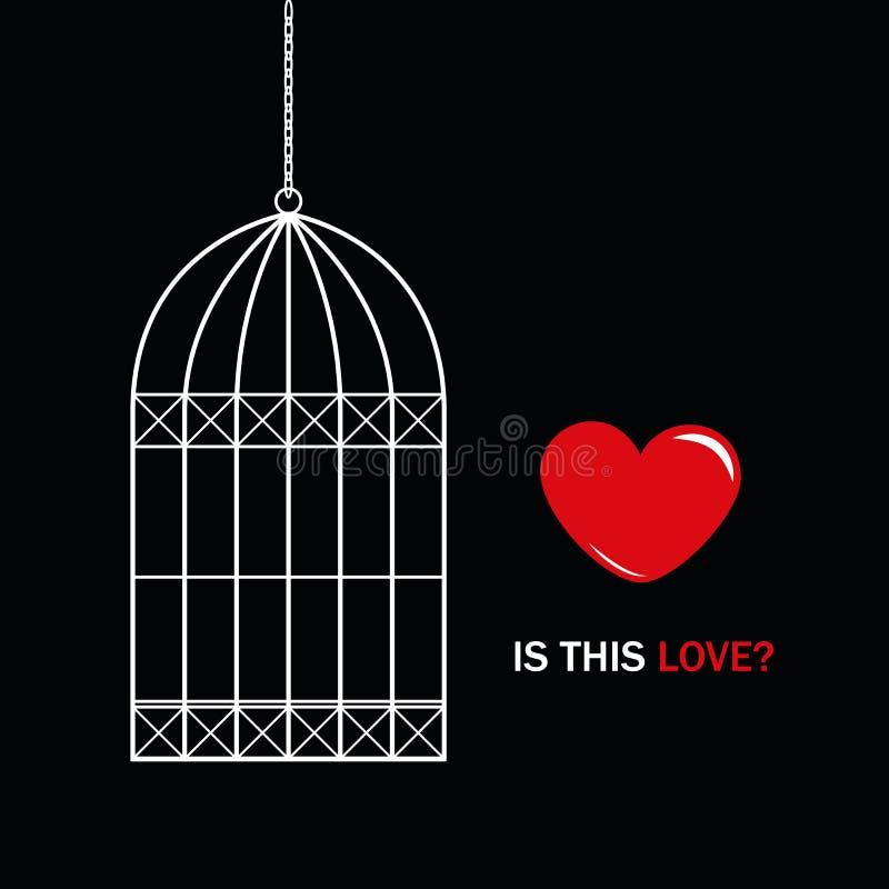 Czerwony serce na zewnątrz ptasiej klatki z tekstem jest ten miłością na czarnym tle ilustracji