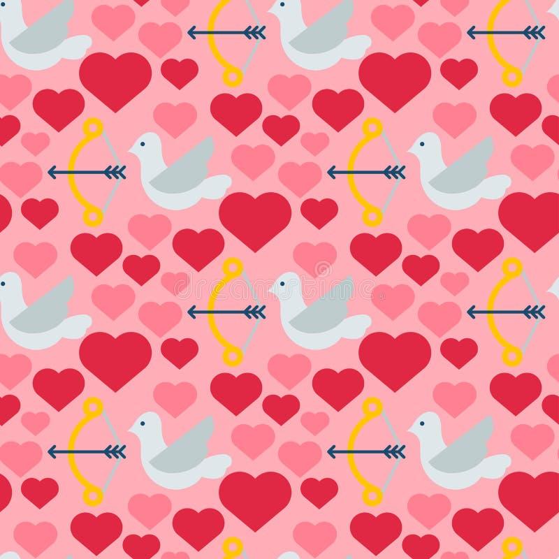 Czerwony serce nurkujący bezszwowi deseniowi tło ptaki barwią karciany pięknego świętują jaskrawego emoticon sztuki wakacyjną dek ilustracja wektor