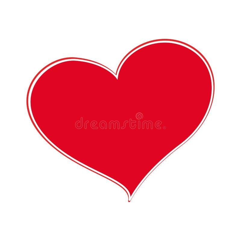 Czerwony serce odizolowywający na białym tle, Wektorowa ilustracja ilustracji