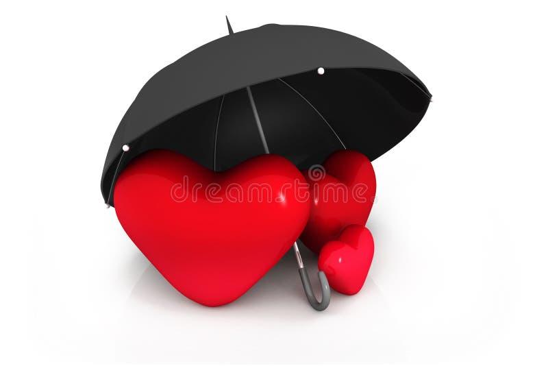 Czerwony serce pod parasolem ilustracji