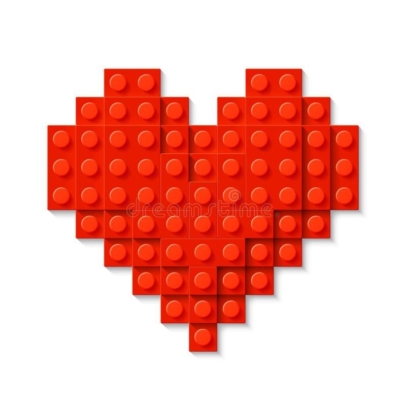 Czerwony serce robić plastikowi budowa bloki ilustracja wektor