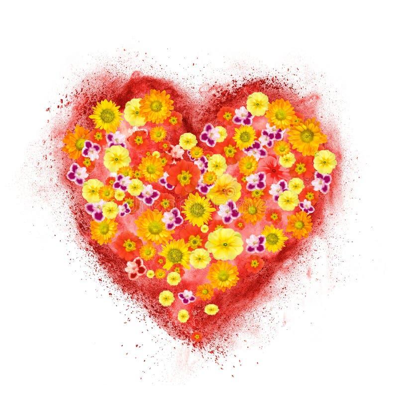 Czerwony serce robić prochowy wybuch z kwiatami obraz royalty free