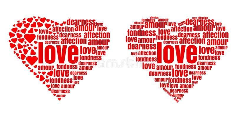 Czerwony serce robić up słowa i mali serca ilustracja wektor