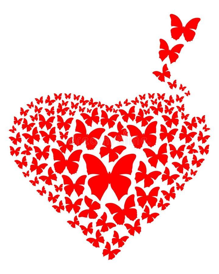 Czerwony serce robić z latającymi motylami ilustracja wektor