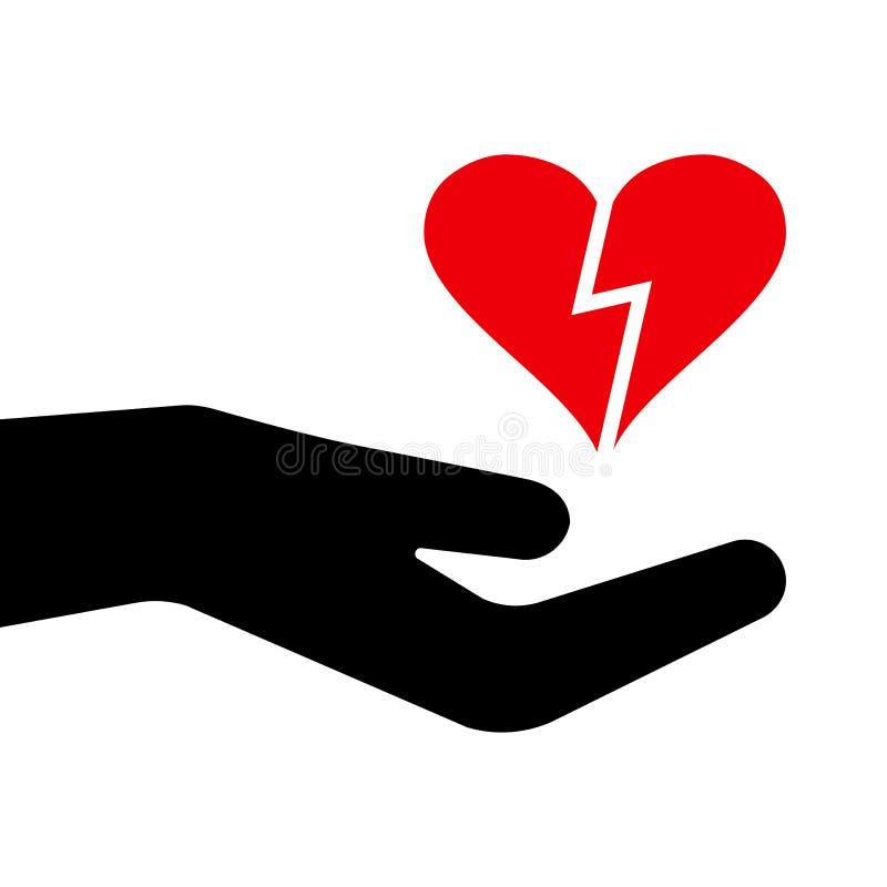 Czerwony serce w czarnej ręce również zwrócić corel ilustracji wektora ilustracja wektor
