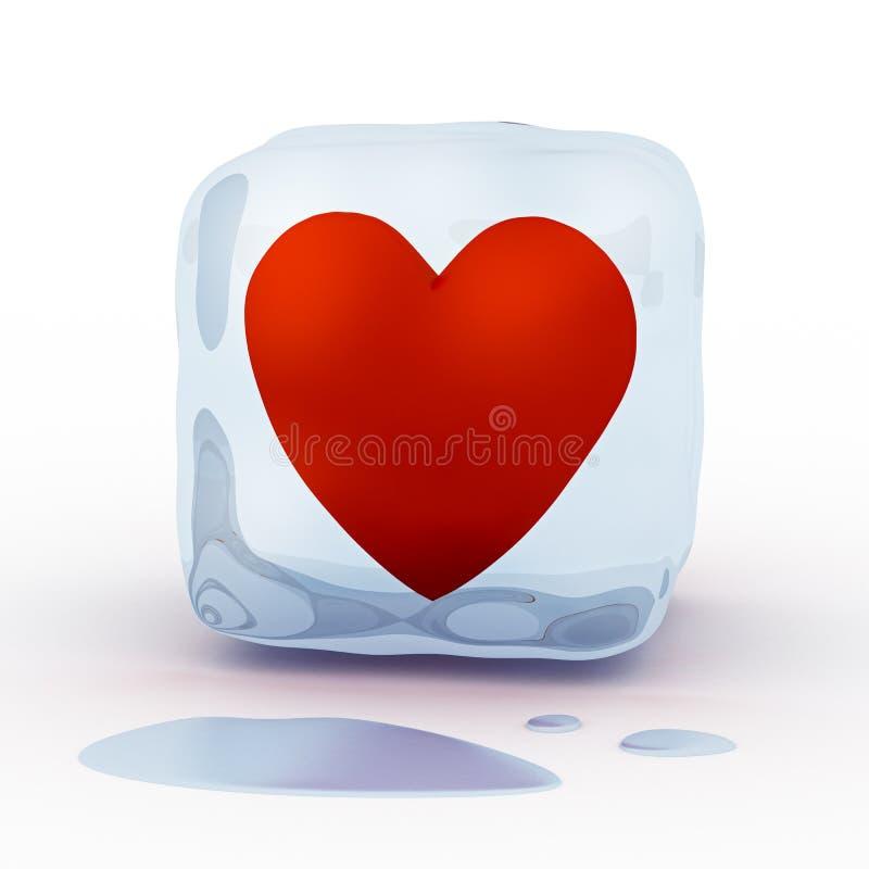 Czerwony serce w kostce lodu royalty ilustracja