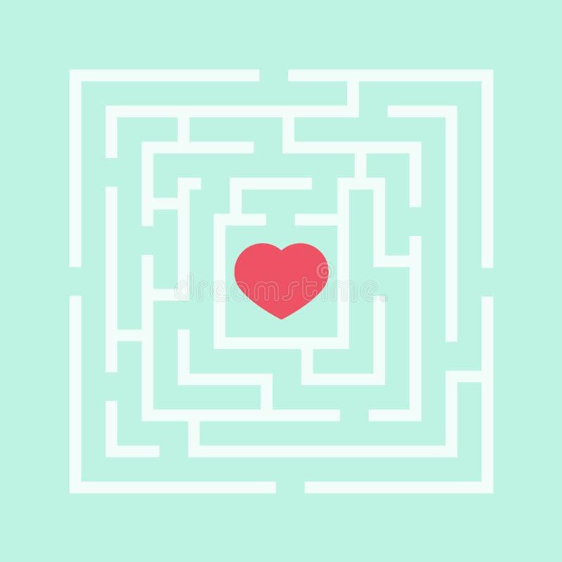Czerwony serce w labiryncie ilustracja wektor