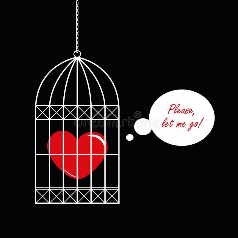 Czerwony serce w ptasiej klatce na czarnym tle ilustracja wektor