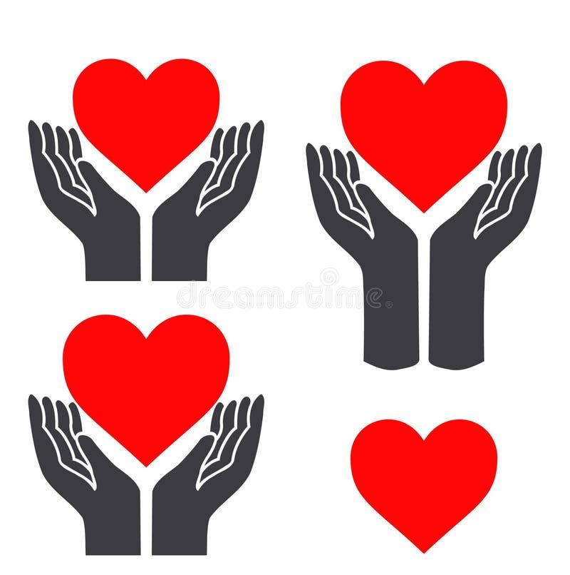 Czerwony serce w rękach ilustracji