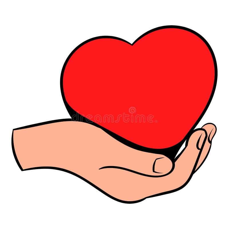 Czerwony serce w ręki ikonie, ikony kreskówka royalty ilustracja