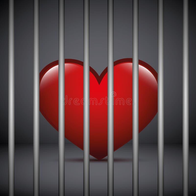Czerwony serce w więzieniu na ciemnym tle royalty ilustracja