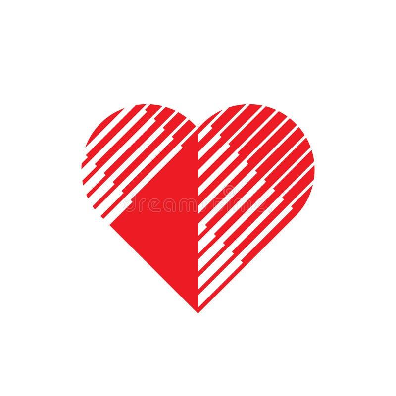 Czerwony serce - wektorowa loga szablonu pojęcia ilustracja miłości siatki znaka wektor Walentynki ` s dnia kreatywnie symbol ele ilustracja wektor