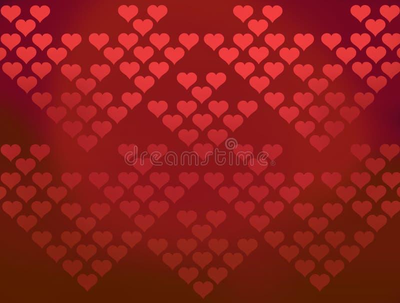 Czerwony serce wzorów valentine tło royalty ilustracja
