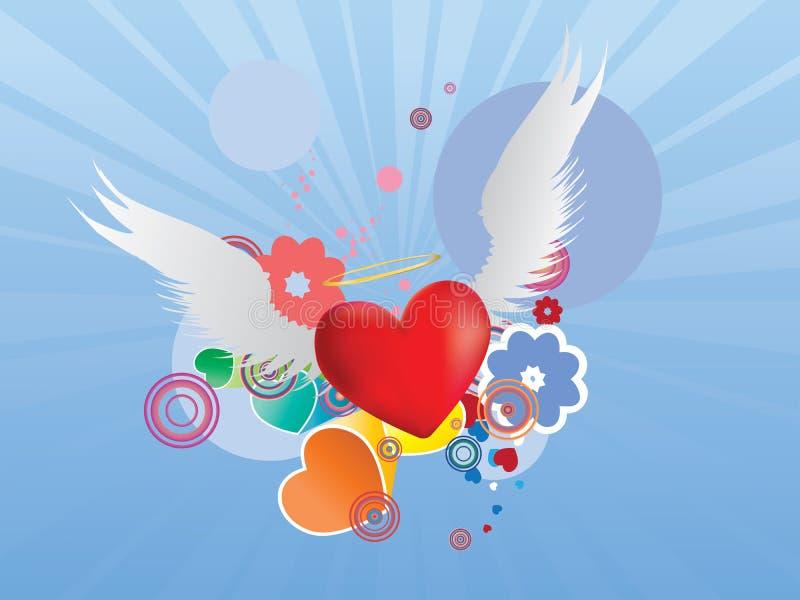 Czerwony serce z aniołów skrzydłami ilustracja wektor