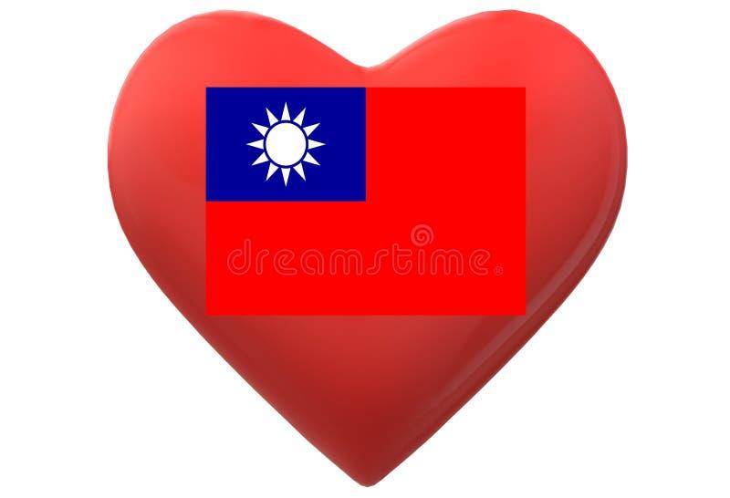 Czerwony serce z flagą Tajwan przeciw białemu tłu royalty ilustracja