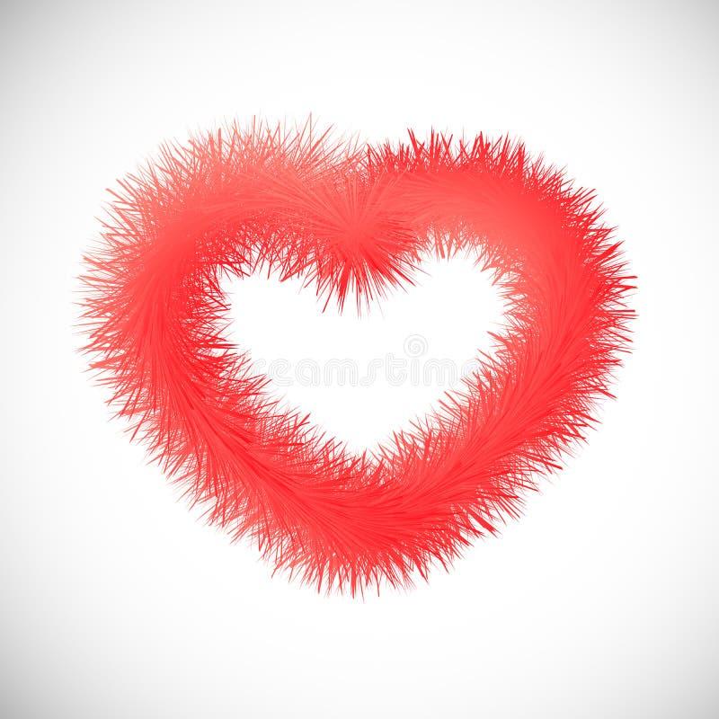 Czerwony serce z futerkowym skutkiem royalty ilustracja