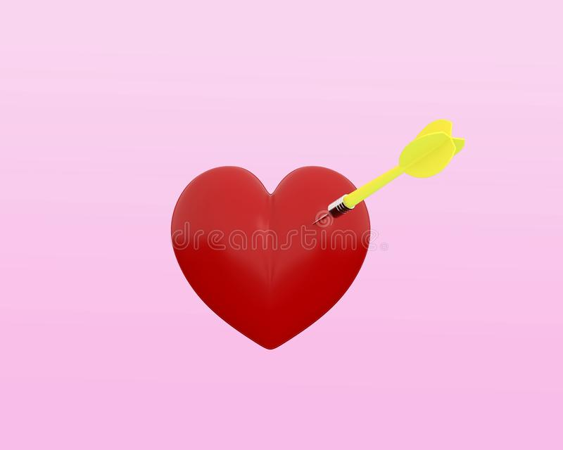Czerwony serce z kółkową cel zaznaczającą i żółtą strzałką na pastelu ilustracji