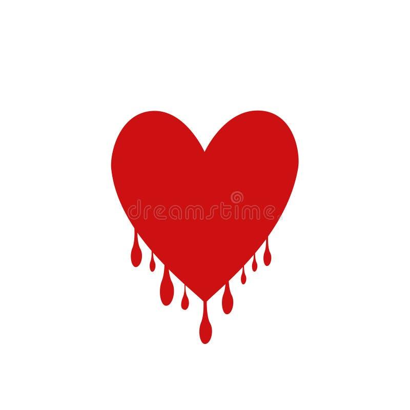 Czerwony serce z kroplami ilustracji