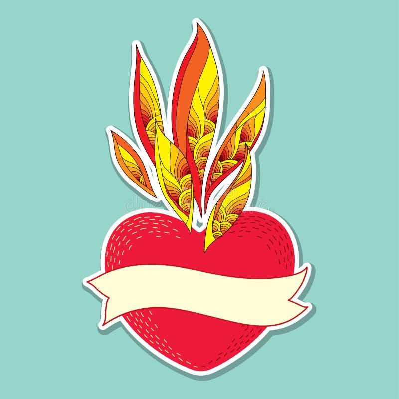 Czerwony serce z ozdobnym płomienia i beżu faborkiem z pustym miejscem dla teksta na turkusowym tle royalty ilustracja