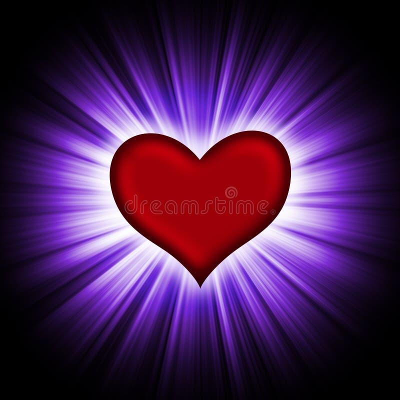 Czerwony serce z promieniami na czerń ilustracja wektor