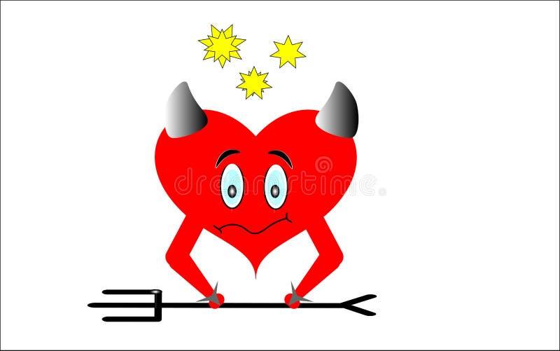 Czerwony serce z rogami na białym tle royalty ilustracja