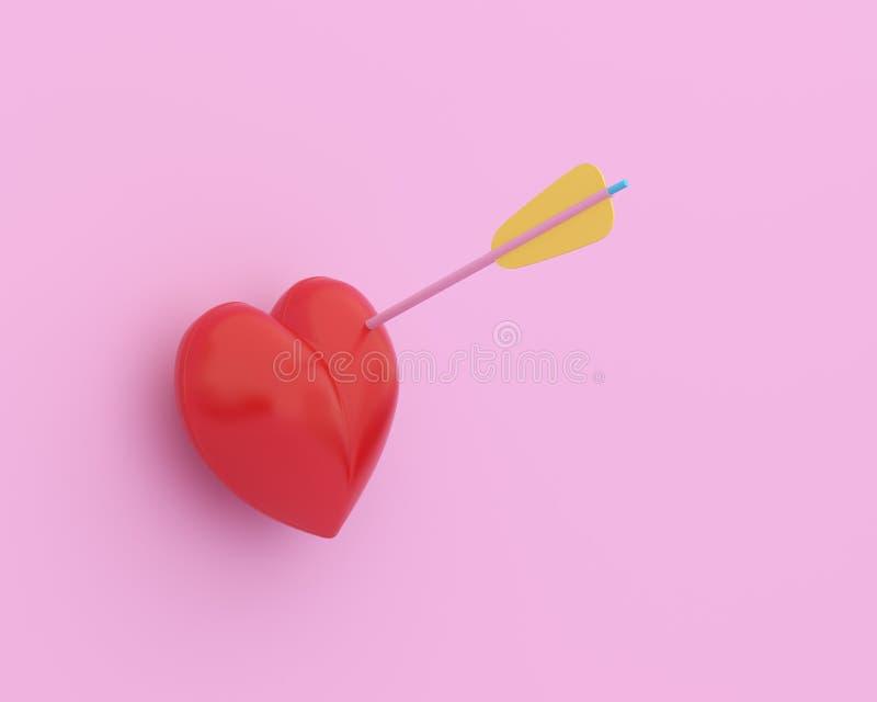 Czerwony serce z strzałą na różowym pastelowym tle minimalny pojęcie miłość i walentynki zdjęcie stock