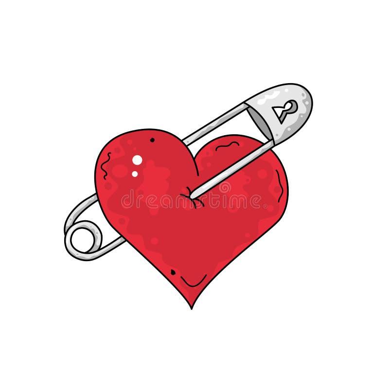 Czerwony serce z szpilką, symbol łamana miłość royalty ilustracja