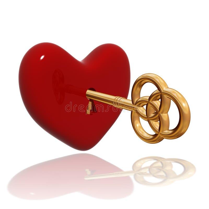 Czerwony serce z złotym kluczem ilustracja wektor