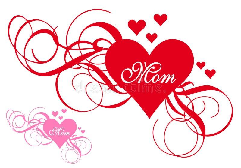 Czerwony serce z zawijasami, matka dnia karta royalty ilustracja