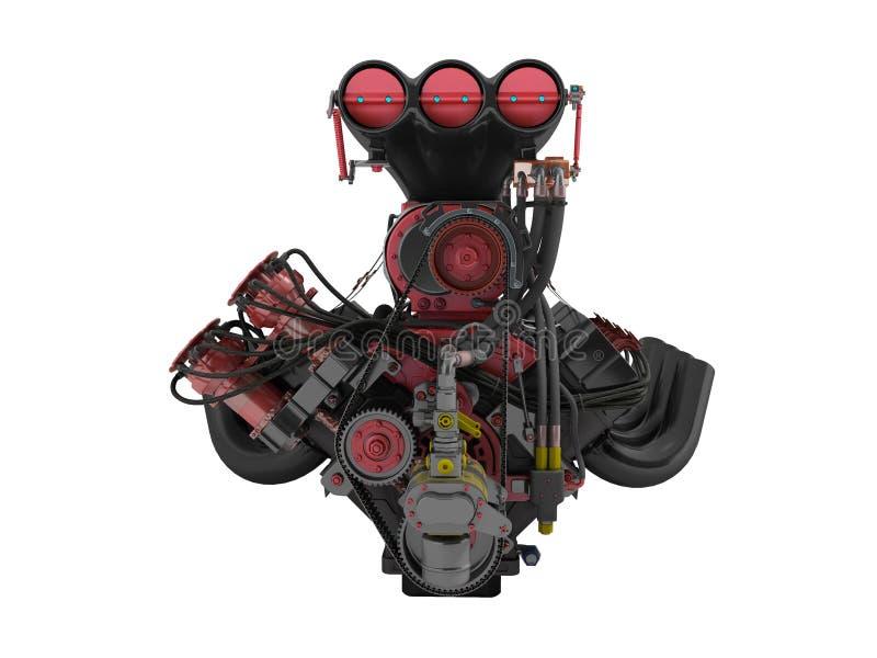 Czerwony silnik z supercharger frontowym widokiem 3d odpłaca się na białym backg royalty ilustracja
