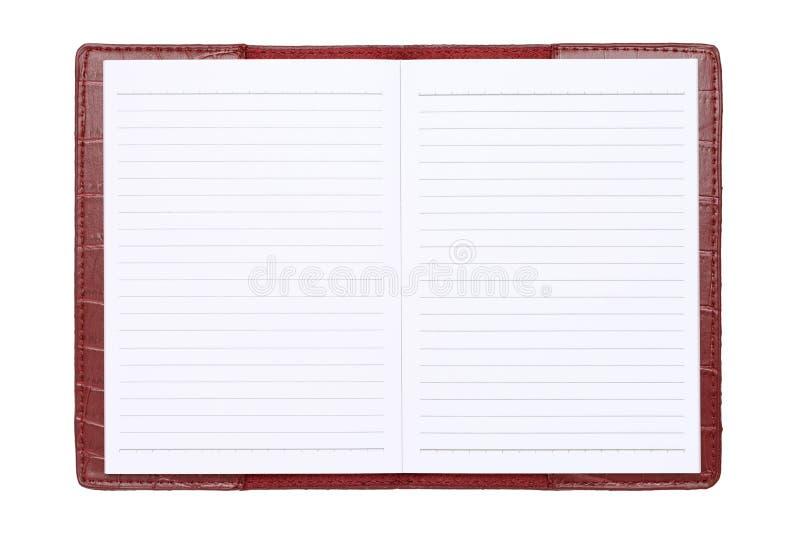 Czerwony skóry pokrywy notatnik zdjęcie stock