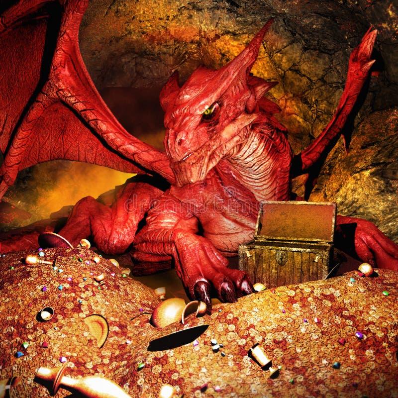 Czerwony smok ilustracja wektor