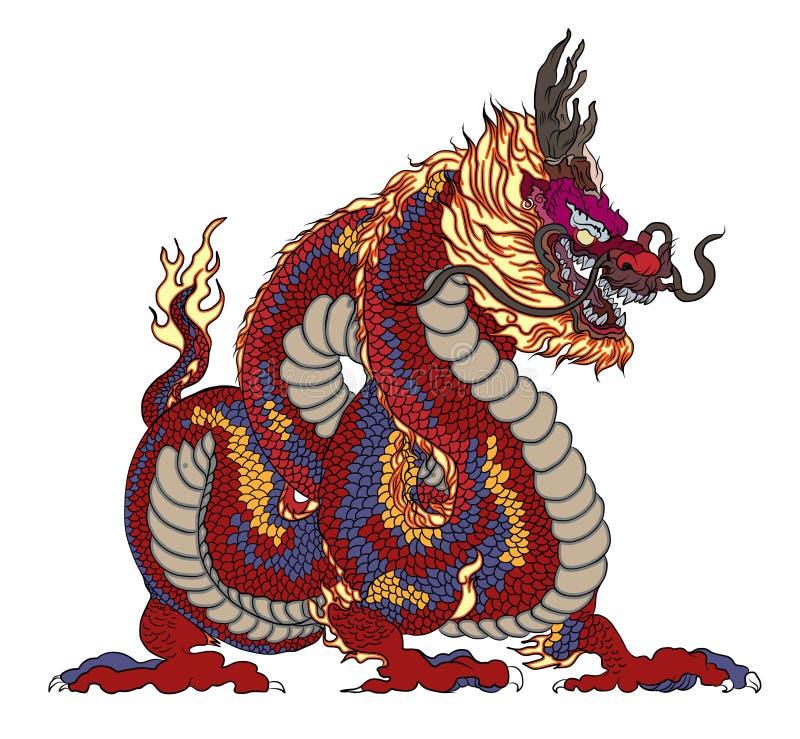 Czerwony smok jest Magicznymi istotami znać w chińczyku i Zachodniej literaturze Smoka tatuażu Zwierzęcy projekt Chiński smoka we ilustracja wektor
