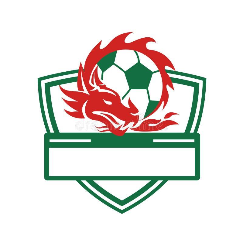 Czerwony smok piłki nożnej piłki grzebień ilustracja wektor