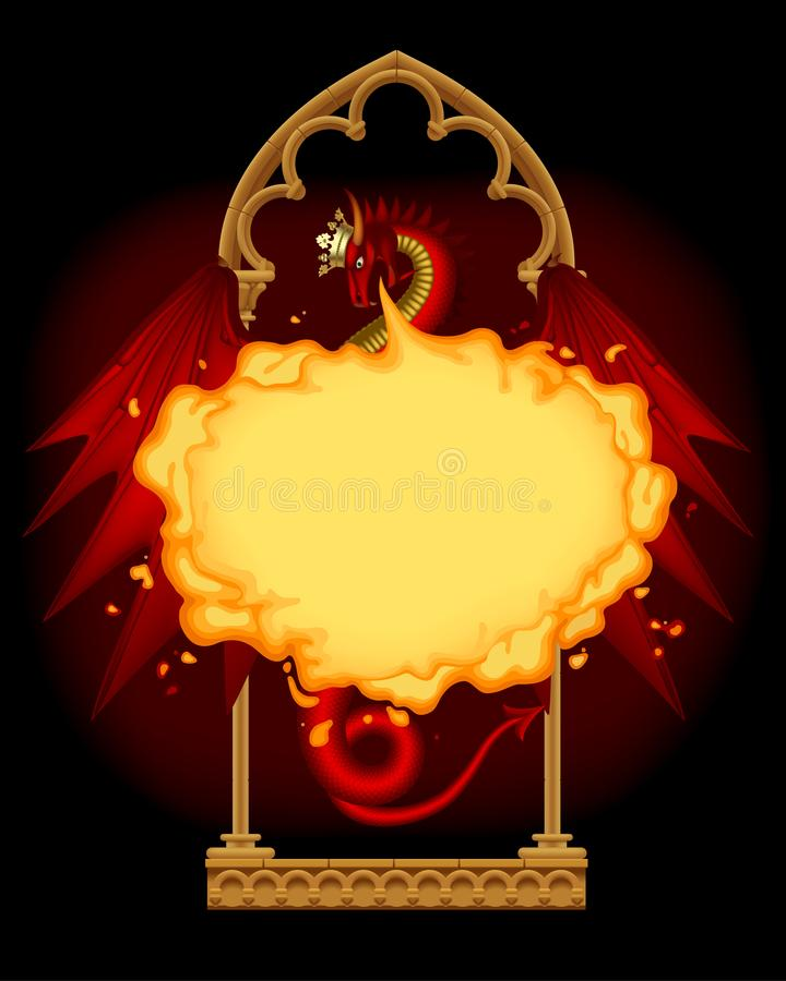 Czerwony smoka oddychania ogień z złocistą koroną gothic architektem i royalty ilustracja
