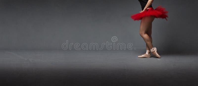 Czerwony spódniczki baletnicy i tiptoe lateral widok fotografia royalty free
