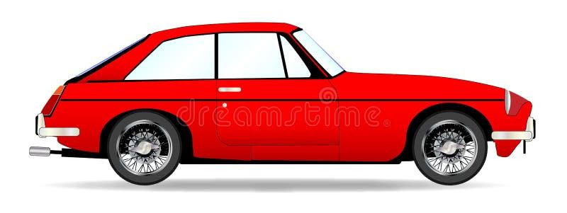 Czerwony sporta samochodu Coupe Nad bielem royalty ilustracja