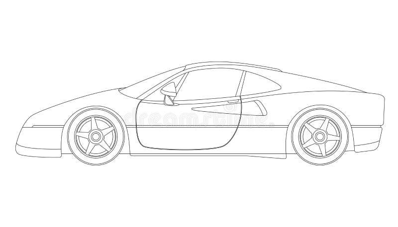 Czerwony sportowy samochód, wektorowa ilustracja, profil strona, royalty ilustracja