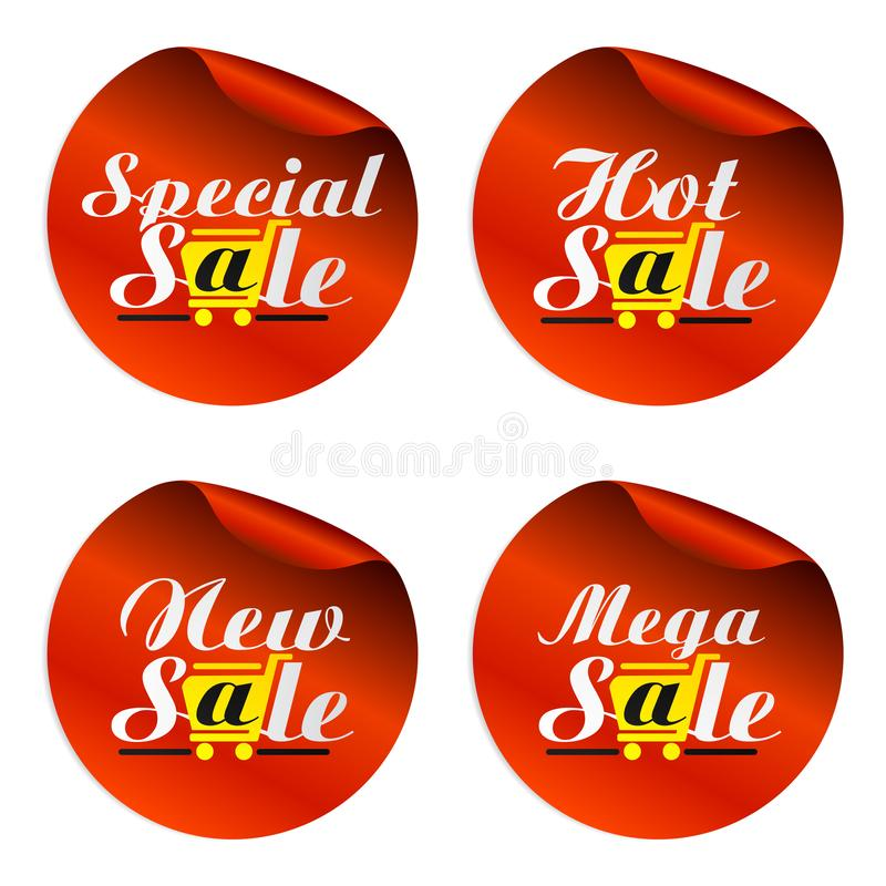 Czerwony sprzedaż majcherów dodatek specjalny mega z torbą z żółtym wózkiem na zakupy, gorący, nowy, ilustracji