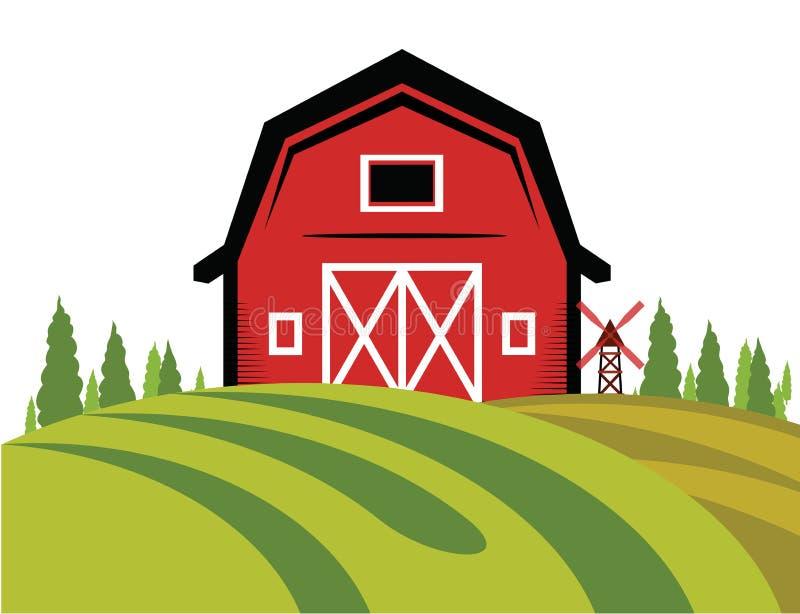 Czerwony stajni gospodarstwa rolnego logo ilustracji