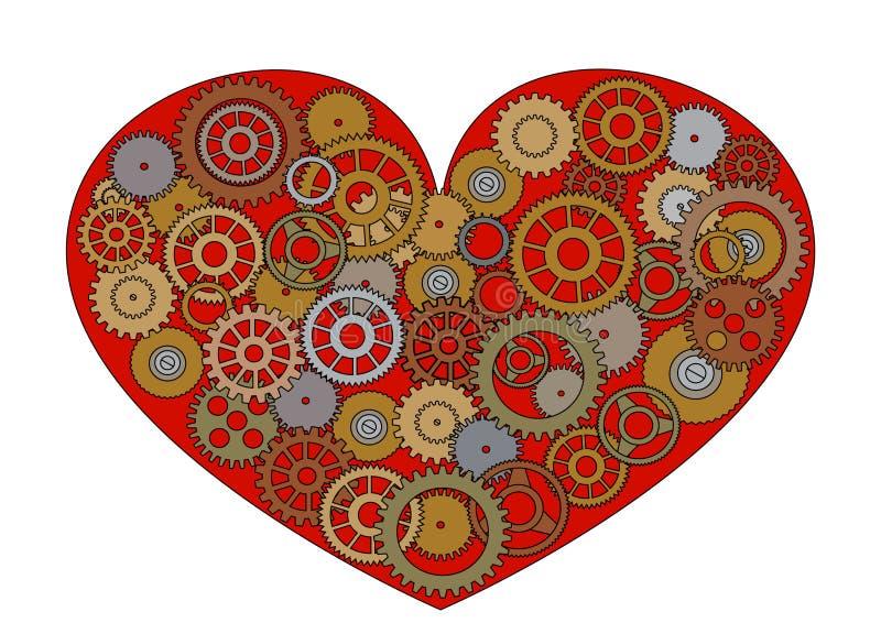 Czerwony Steampunk serce ilustracji