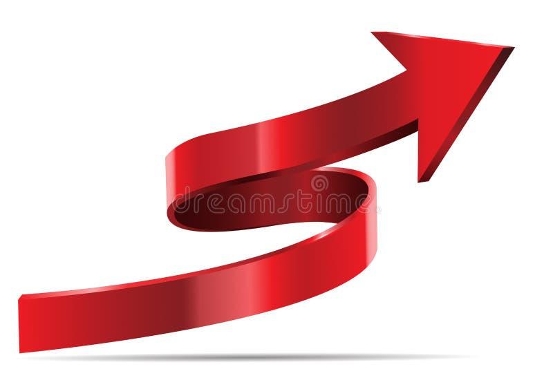 Czerwony strzała 3D krzywy kierunek na białym tło wektorze royalty ilustracja