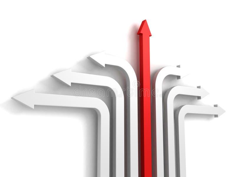 Czerwony strzałkowaty lider wzrasta w górę sukcesu kierunku rozwój ilustracji