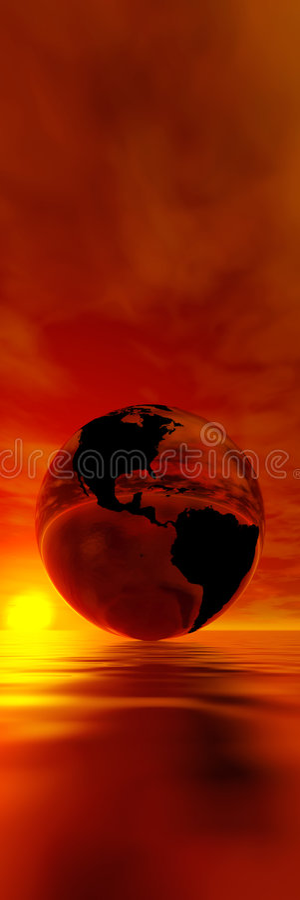 czerwony sunet przeciwko ziemskiemu ilustracja wektor
