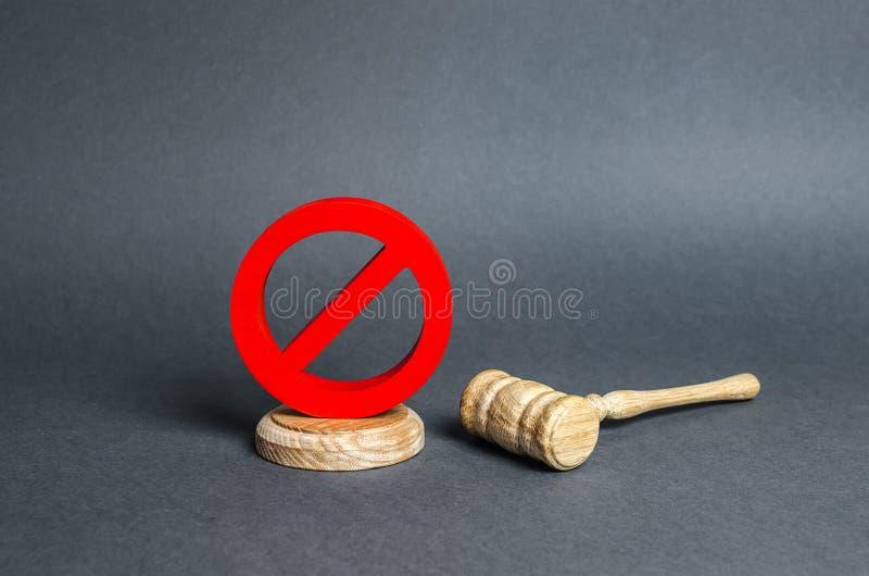 Czerwony symbol zakazujący na podstawce i uniemożliwiający młotowi wydanie orzeczenia. Niepopularne prawa, uzurpacja fotografia royalty free