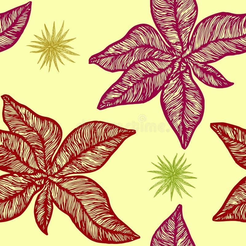 Czerwony symphytum officinale i mała chlorophytum roślina ilustracji